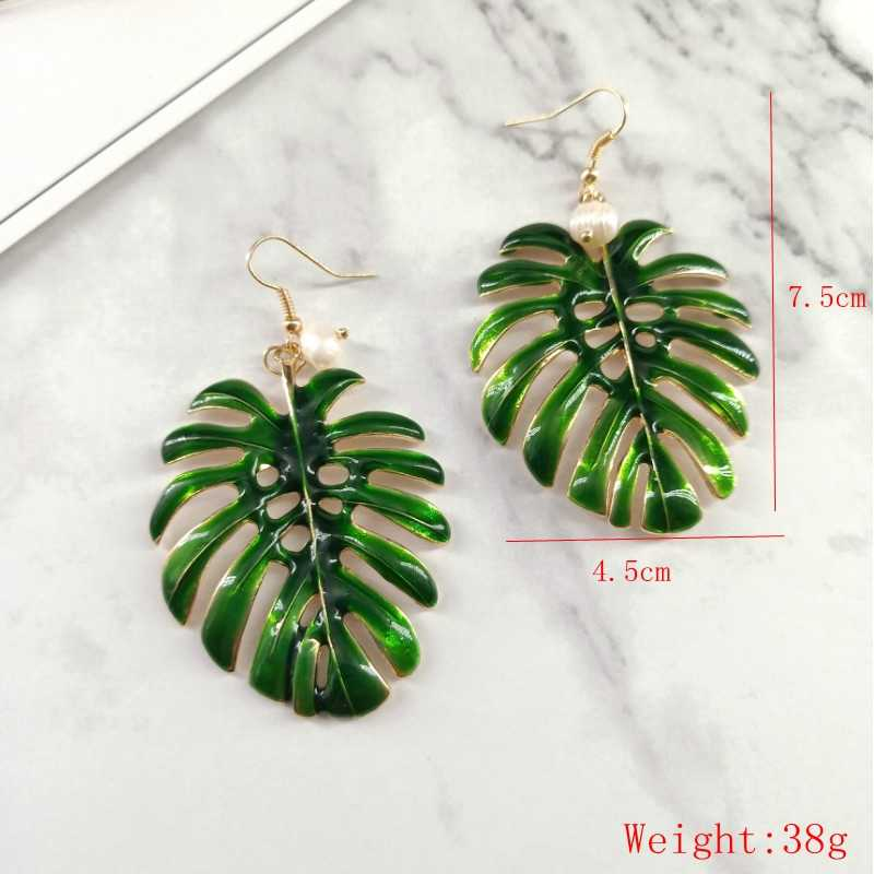 Boho Vintage Tropical Leaf Drop Earrings For Women Jewelry Statement Green Enamel Coconut Leaf Dangle Earrings Mujer Bijoux