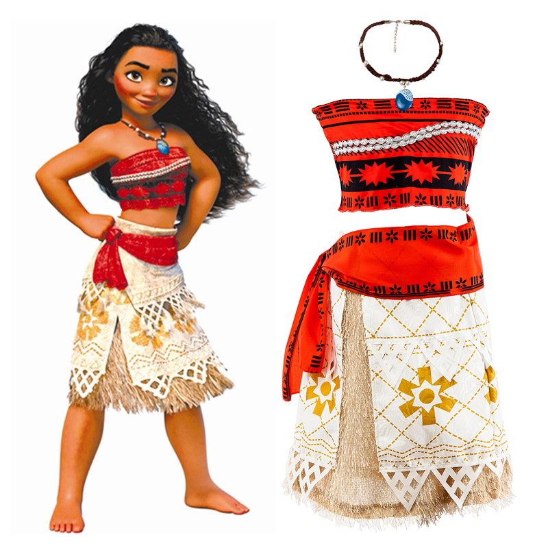 NEW Summer Kids Princess Moana Dress girls Moana Costume Halloween Carnival Cotton Red Short Two-piece Tribal Dresses