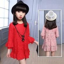 Girls Lace Dress Long Sleeve High Waist A-line Above Knee Dress Teens Girls Vestidos Pink / Red / Black Girl Dress Kids Clothes