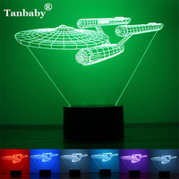 Tanbaby 3D Novelty Night Light Optical Illusion Airship 7Colors Home Decoration USB Or Battery LED Lamp