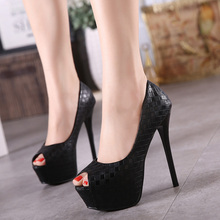 Europe and super high heels 14CM Fashion shoes waterproof fish head Sexy nightclub fine with plaid shoes