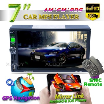 "7"" Car Player GPS Navigation Radio 2 Din Bluetooth AUX Audio Multimedia MP5 Player Mirror Link Rear Camera Touchscreen Autoradio"