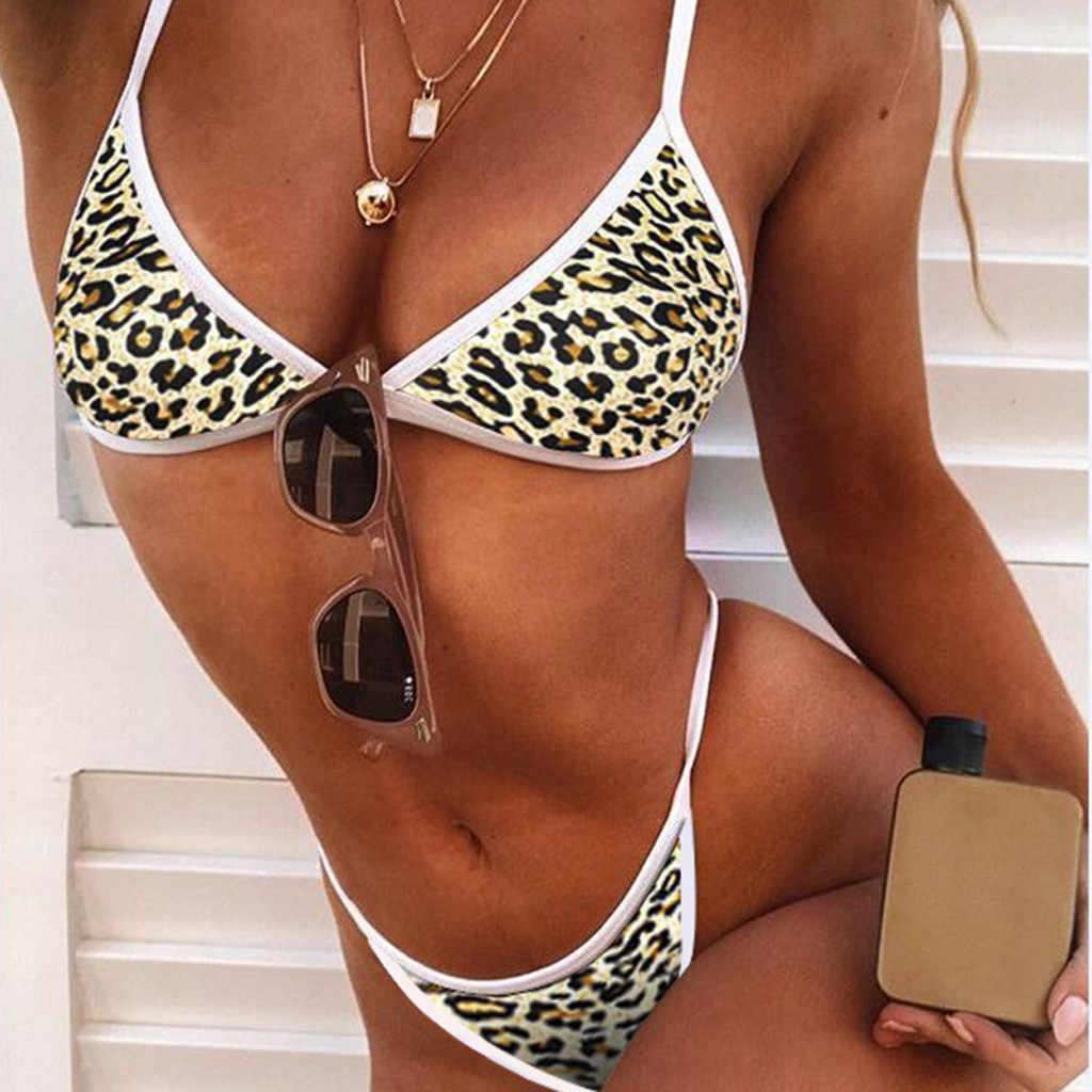 Wanita Patchwork Seksi G-string Baju Renang Bikini 2019 Push-Up Padded Dua Sepotong Seksi Baju Renang Patchworkbeachwear M01