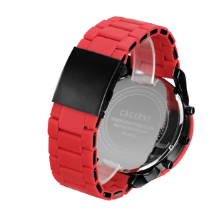 Image 3 - Cagarny Cool Big Quartz Watch For Men Red Silicone Steel Band Sports Wristwatch Man Military Relogio Masculino D7370 Male Clock
