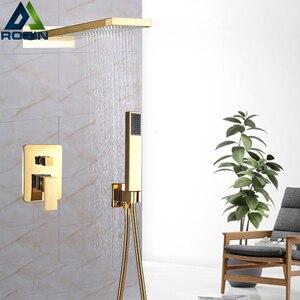 Image 5 - Chrome Waterfall Rain Shower Faucet Set Plastic Handshower Golden In Wall Shower Column 3 Ways Brass Mixer Valve Shower Tap