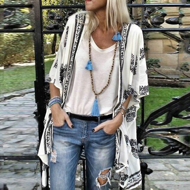 Plus Size Summer Fashion Boho Print Blouse Casual Loose Sheer Chiffon Cardigan Kimono Tops Female Women Half Sleeve Shirt Blusas