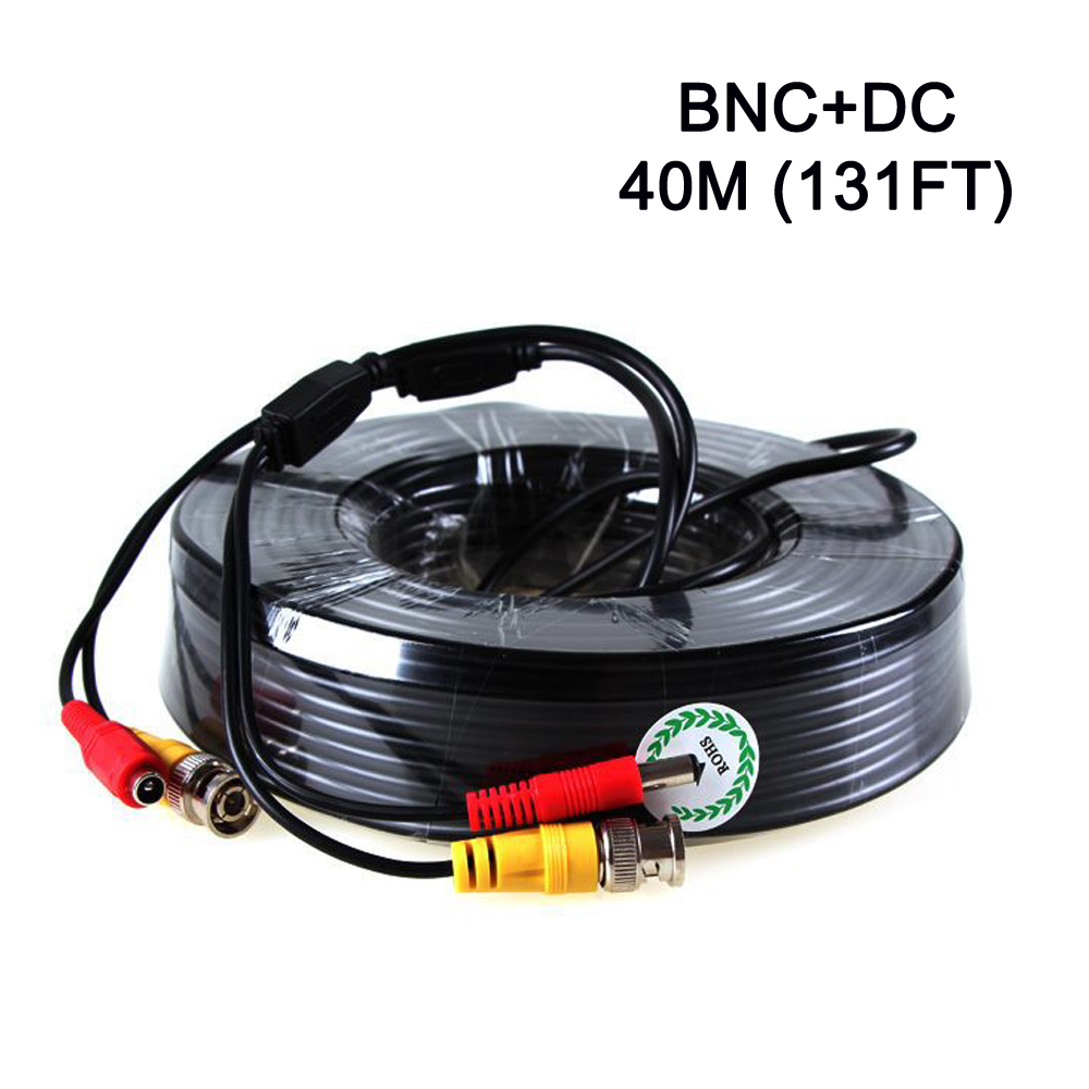 ФОТО 40m CCTV Cable 131ft BNC + DC plug cable for CCTV Camera and DVR black color Coaxial Cable for CCTV System Freeshipping