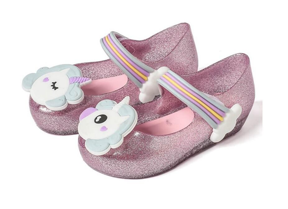 2020 Girls Sandals Jelly Shoes Melissa Baby Girls Sandals Rainbow Unicorn Anti-Skid Beach Sandals Shoes Toddler Sandals