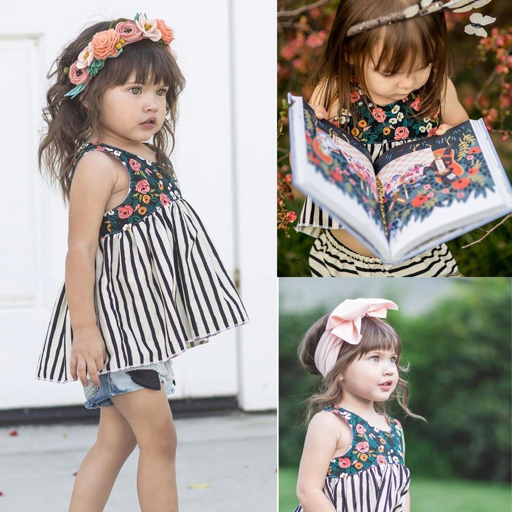 new fashion cute newborn infant baby girl floral striped