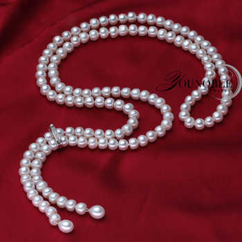 900mm vintage real long pearl necklace women,girls jewelry 925 silver natural bridal freshwater white pearl necklaces mother