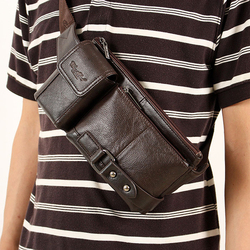 CHEER SOUL Genuine Leather Waist Packs for Men Fanny Pack Belt Bag Phone Pouch Bags Travel Male Small Waist Bag Natural Cowhide