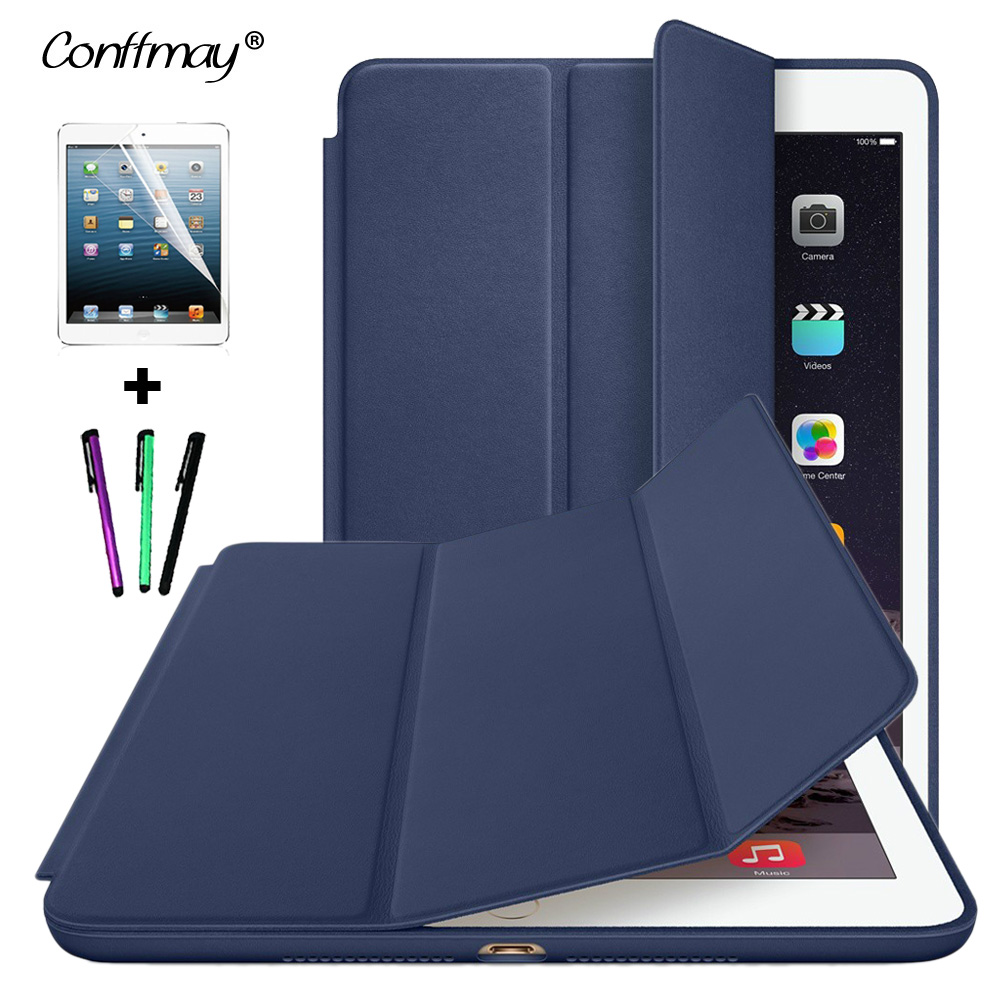 conffmay official 1 1 smart cover stand case for apple ipad air 2 ipad 6 with wake up dormancy. Black Bedroom Furniture Sets. Home Design Ideas