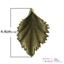 8SEASONS Charm Pendants Leaf Antique Bronze 4.4cm x 3cm,10PCs (B33944)(China (Mainland))
