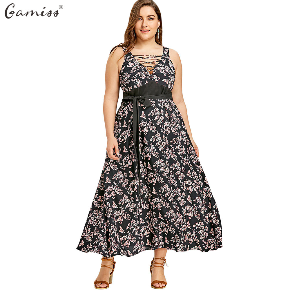 Gamiss Frauen Reich Taille Maxi Kleider Plus Größe Blumendruck Cold ...