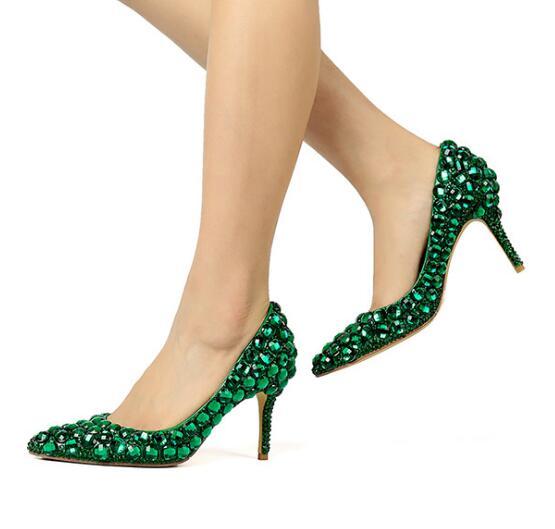 Crystal-Shoes Rhinestones Dress Wedding-Shoes Diamonds Bling Pointed-Toe High-Heel Green