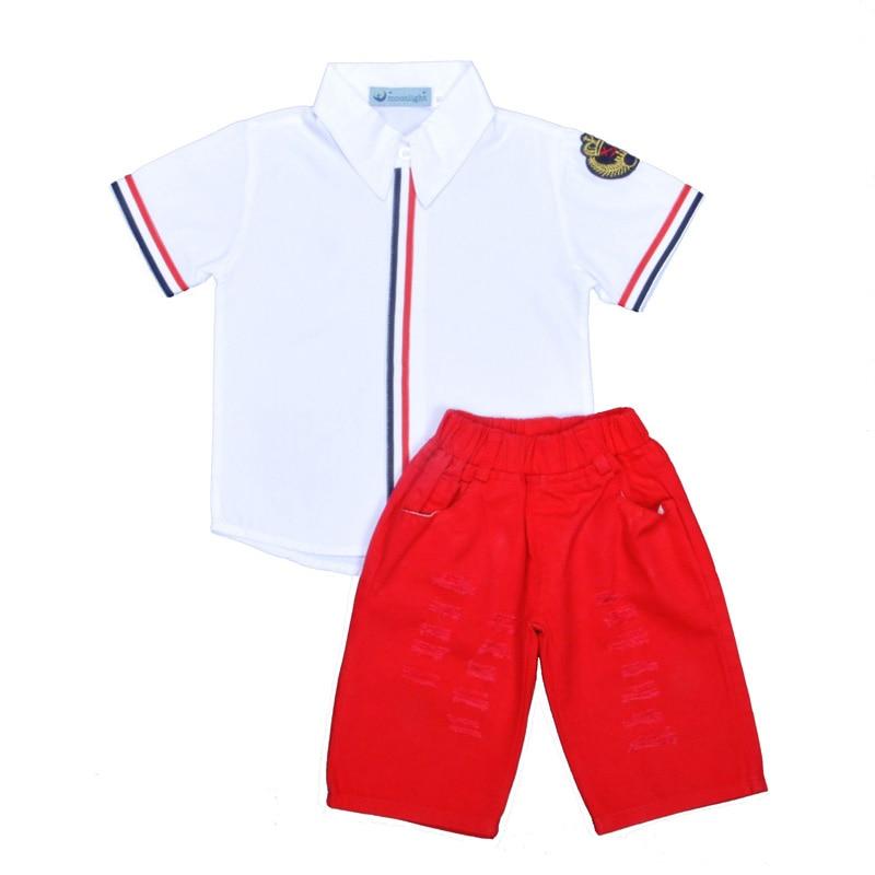 Hot Sale! Retail Summer Kids Boy Clothing Set Fashion Stripe White Sailor T Shirt+Holes Denim Pant 2pcs Suit Brand Baby Girl Set