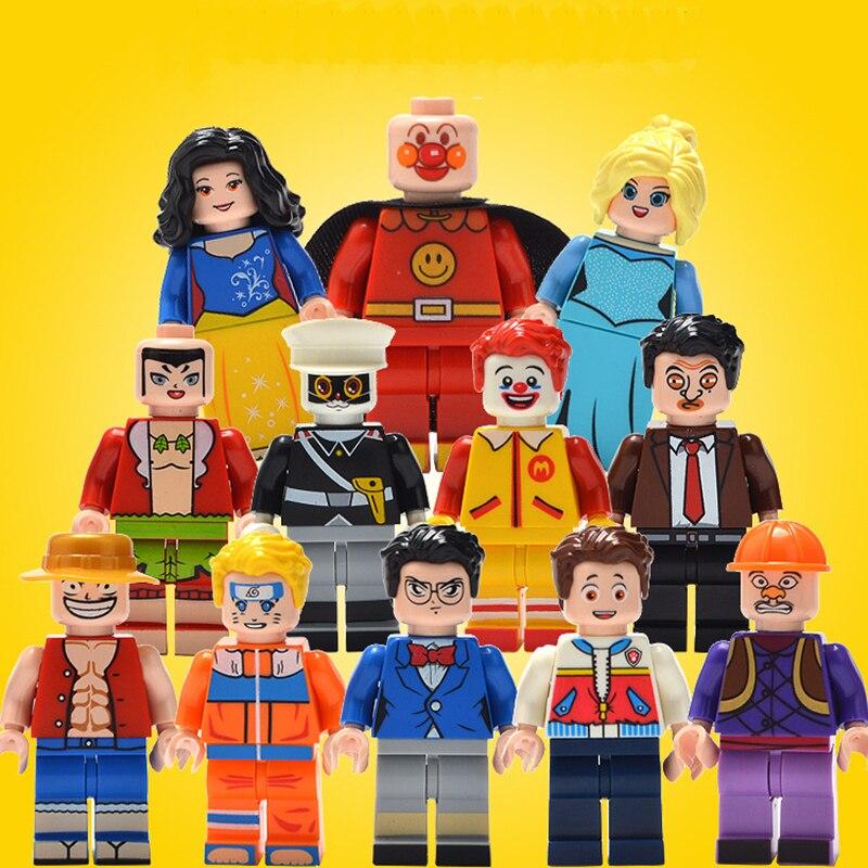 12pcs Anime Figures Compatible with LegoINGlys Cartoon Action Figure McDonald Policeman Bride Bridegroom Luffy Conan toy for kid ...