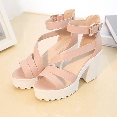 Big Size Sommer Sandalen Frauen 2017 Plattform Weibliche Starke Ferse High Heels Peep Toe Sandalen Schuhe Frauen Alias Plataforma 9935