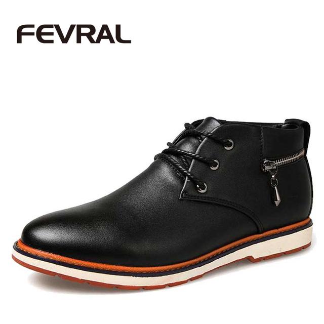 FEVRAL Marca Primavera Otoño Zapatos de Cuero de Los Hombres de Alta Calidad Botas de Los Hombres de Los Hombres Del Tobillo Botas Matin Botas de Cuero de Moda