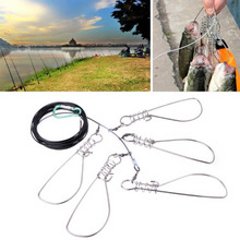 5M Portable Fishing Lock Stainless Steel Live Fish Bucket Stringer Fishing Tackle Tools For Accessories
