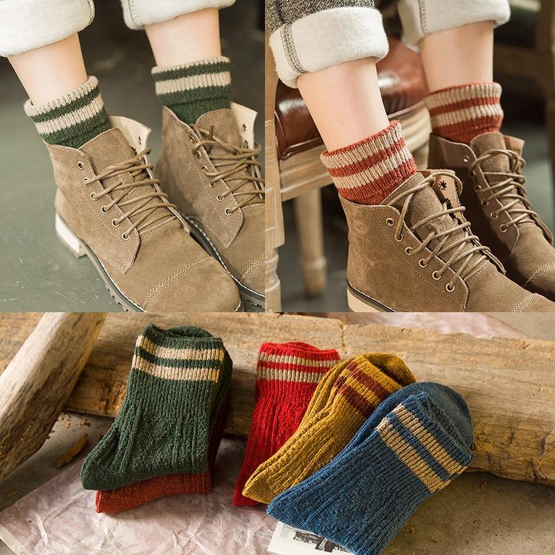 1Pair Women Socks Winter Warm Socks Female Ankle Socks Cotton Thick Knitted Striped Ladies Sock Art Meias Chaussette Christmas one set winter thick socks