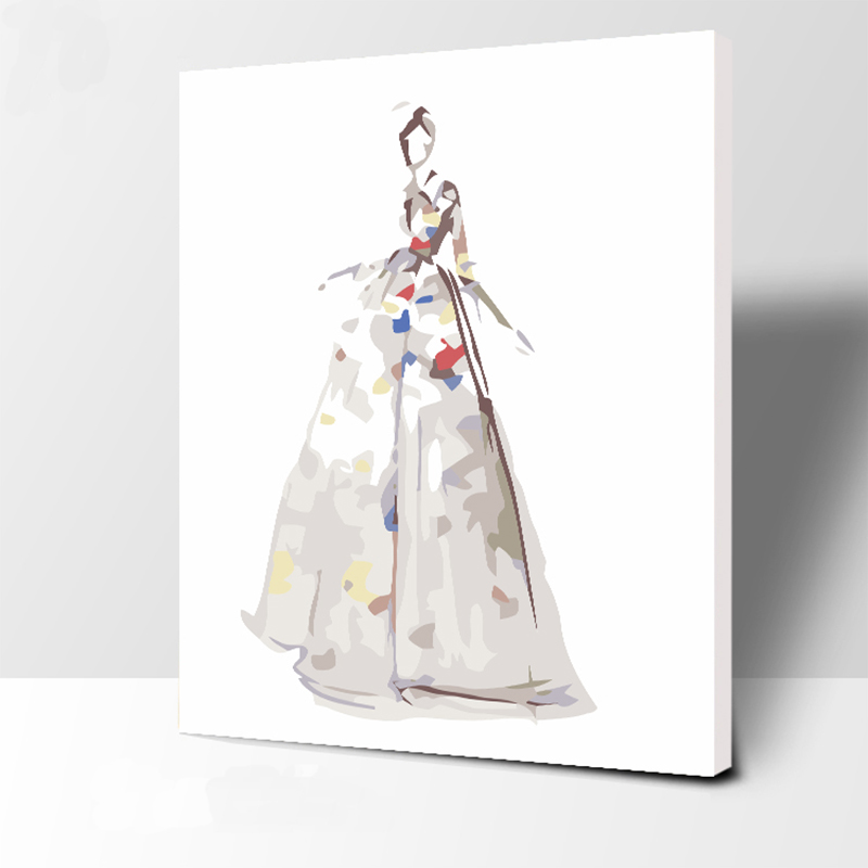 Wedding Dress Number Oil Painting Wall Pictures for Living Room Canvas Abstract Digital Painting No Frame Home Decoration in Paint By Number from Home Garden