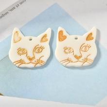 Mais novo 30 pçs/lote kawaii animal gato cabeça forma resina ácido acrílico encantos diy jwelry descobertas redondo rosto sorridente butotn adesivos