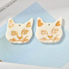 Newest 30pcs/Lot Kawaii Animal Cat Head Shape Resin Acid Acrylic Charms DIy jwelry Findings Round Smiling Face Butotn stickers