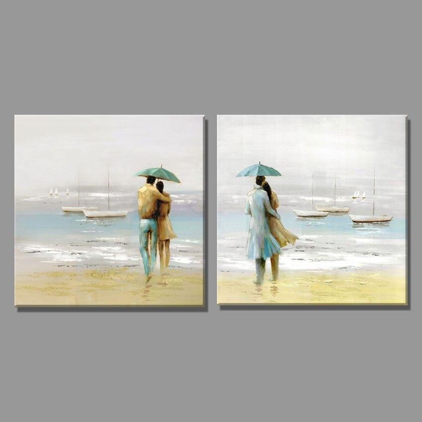 2 шт. морской бриз дует путешествия пару фото картина маслом на холсте Пейзаж Домашний Декор на стене для гостиной
