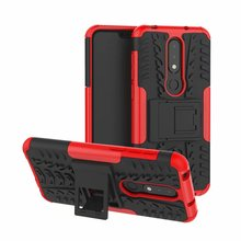 цена For Nokia X6 X5 Case Hard TPU+PC Armor with Stand shockproof Hybrid Protective back Cover cases For nokia x6 2018 x5 shell