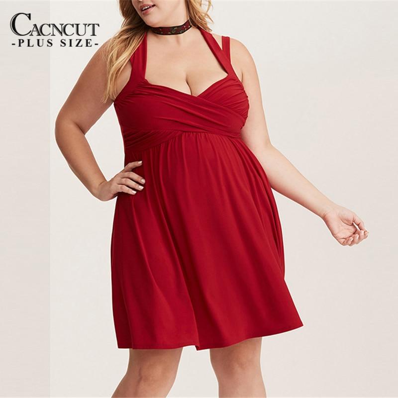 Sexy Ladies Night Club Plus Size Dress Red Sleeveless