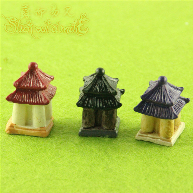 New Resin Miniature Garden Accessories Mini House Pavilion Miniature Fairy Garden Decorations Cute Resin Fairy House