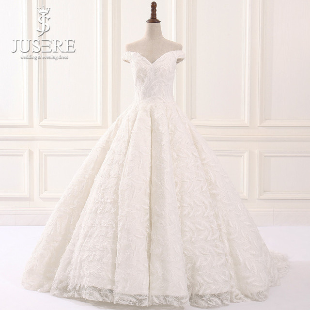 05d856f230 US $1399.0 |Jusere Real Photos 2019 Off Shoulder Sexy V neck Feather Lace A  line Wedding Dress with Tail Vintage Bridal Dresses-in Wedding Dresses ...