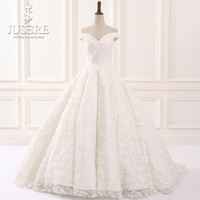 Off Shoulder Sexy V neck Feather LaceA line Skirt Flowing Lace up Back Big Train Bridal Robe De Mariee Noiva Wedding Dress 2018
