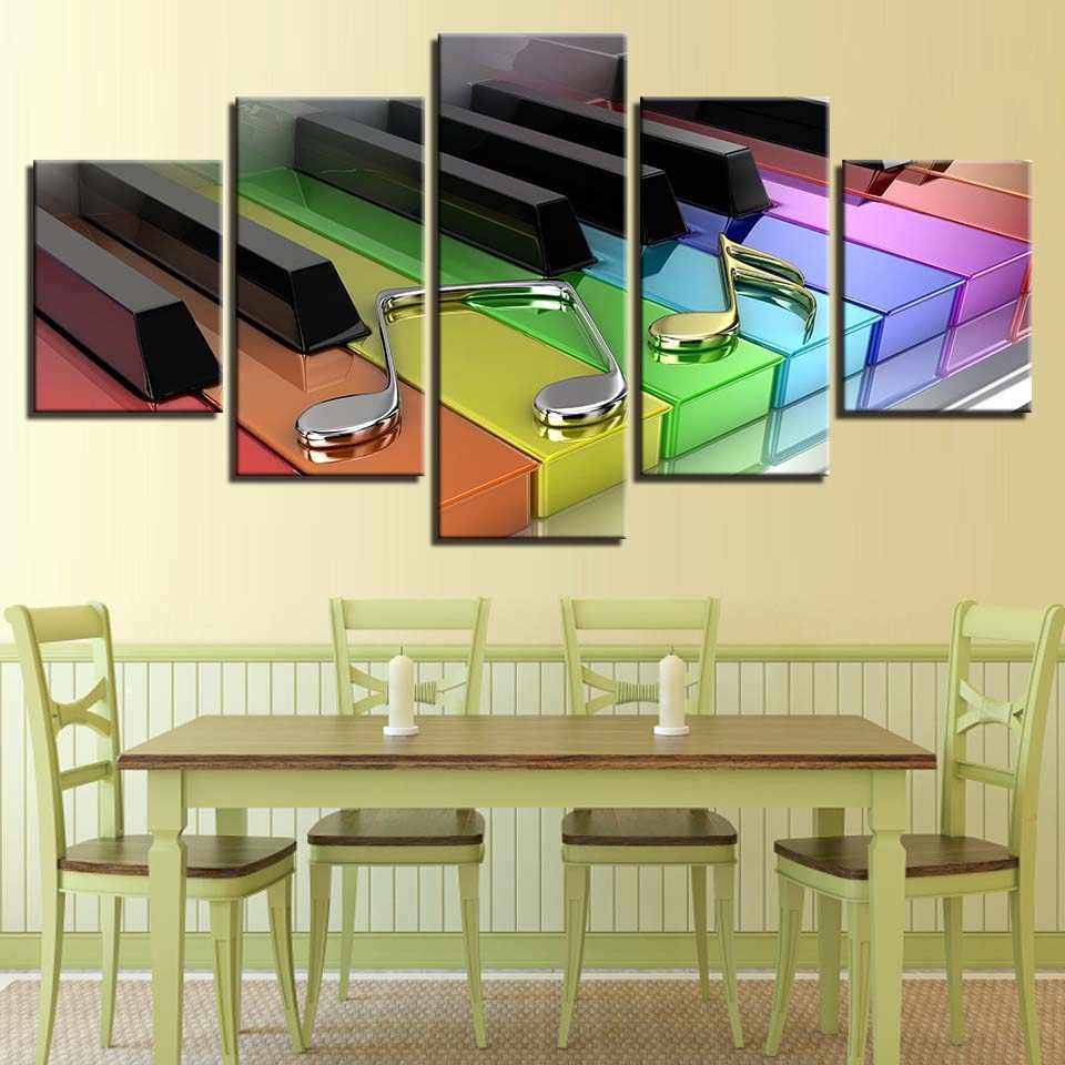 Плакаты на холсте домашний декор настенные художественные картины 5 шт. красочные пианино ключи и музыкальные ноты картины для гостиной рамки