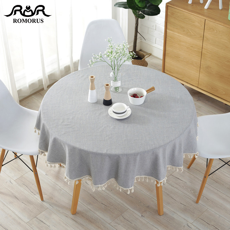 Us 17 32 30 Off Modern Solid Color 150cm Round Table Covers With Tels Cotton Linen Gray Navy Blue Tablecloths Decorative Cloths In