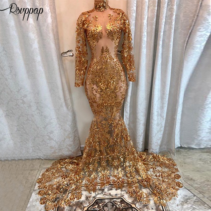 Long Sexy Prom Dresses 2020 See Through High Neck Long Sleeve Gold Sequin African Black Girl Mermaid Illusion Prom Dress