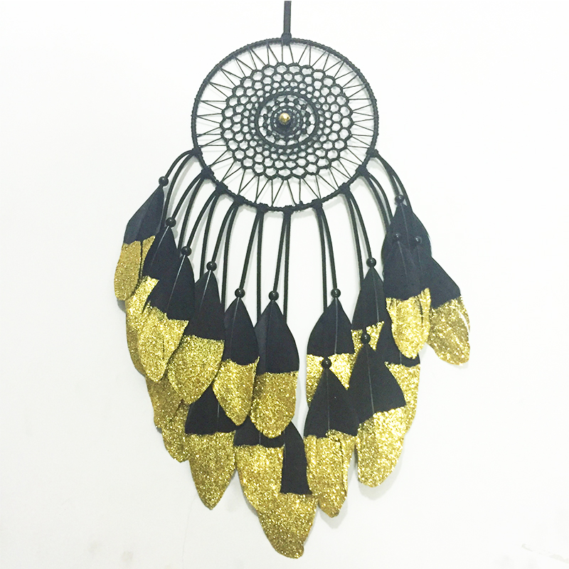 2015 New fashion originality big Hot black gold  Dreamcatcher Wind Chimes Indian Style Feather Pendant Dream Catcher Gift