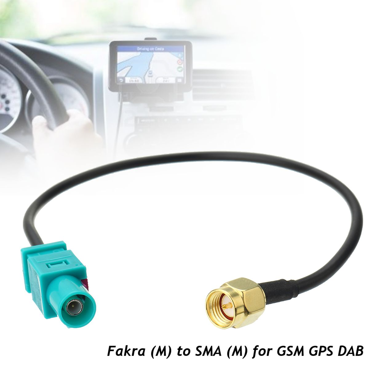 1PC Antenna Adapter Plug Fakra Z (M) to SMA (M) Connector Cable For Car GSM GPS DAB 21.5cm(China)