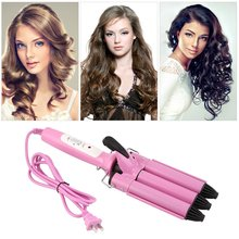 Pink Long Working Life Easy Operation Three Barrel Triple Barrel Ceramic Hair Curling Iron Deep Waver Curler Hair Styling Tool steam iron endever skysteam 707