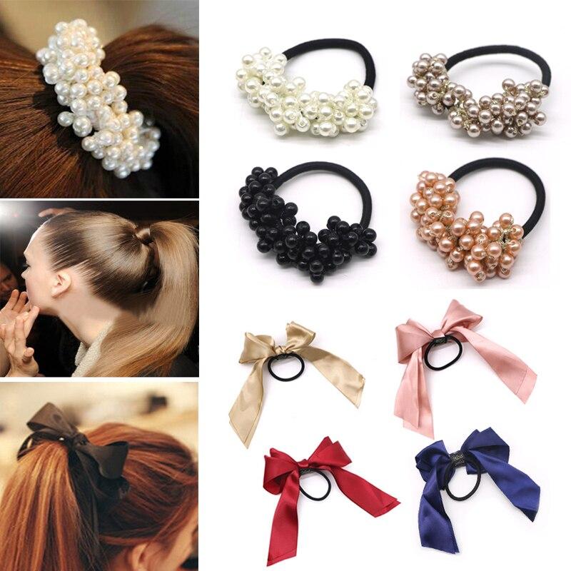 Women Hair Accessories Pearls Beads Headwear Ponytail Holder Girls Hair Scrunchies Tiara Satin Ribbon Bow Elastic Hair Band Rope
