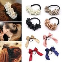 Women Hair Accessories Pearls Beads Headwear Ponytail Holder Girls Scrunchies Tiara Satin Ribbon Bow Elastic Band Rope