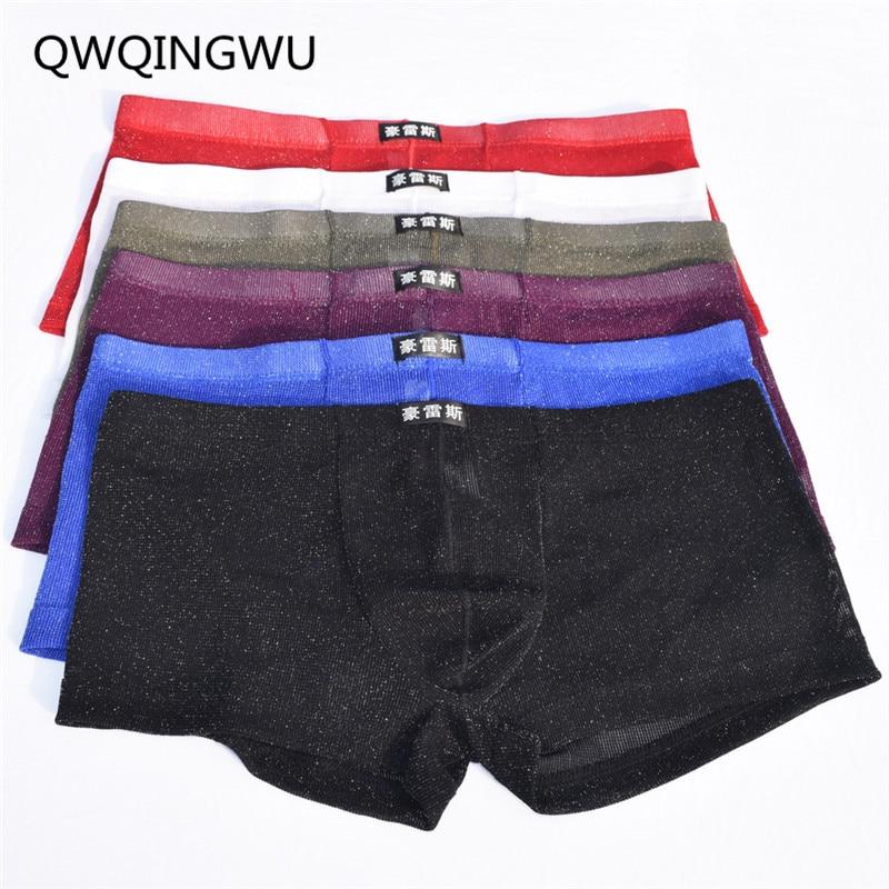 6PCS Men's Mesh Boxers Sexy Underwear Transparent Nylon See Through Gay Male Underpants Panties Thin Breathable Gauze Net Boxers