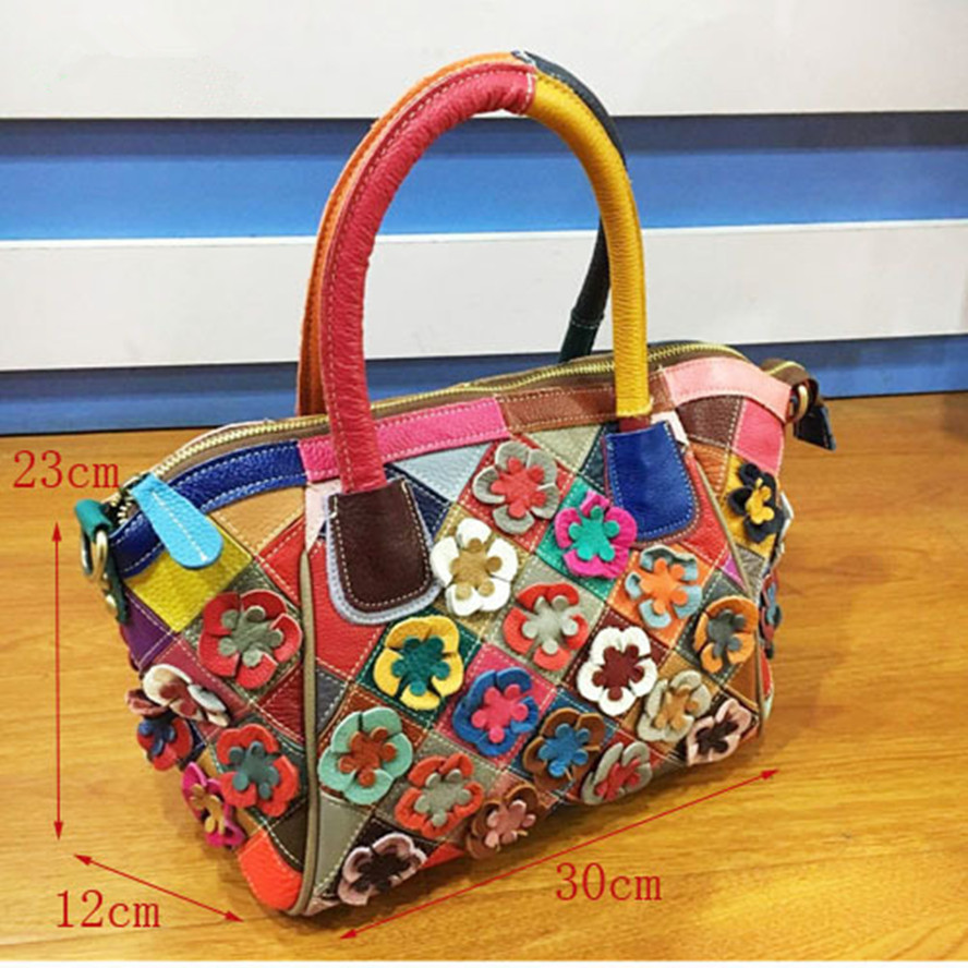 2017 Genuine Leather women Hit color flowers handbag Female Messenger bag brands girl travel pouch Bolsa Feminina shoulder bags vogue star women bag for women messenger bags bolsa feminina women s pouch brand handbag ladies high quality girl s bag yb40 422