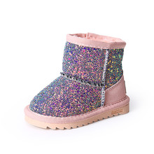 Clearance Sale Winter Children Snow Boots Sequined Girls Plush Snow Boots  Girls Casual Boots Cotton Padded Kids Martin Boots-in Boots from Mother    Kids on ... 2e6d55aa5e82