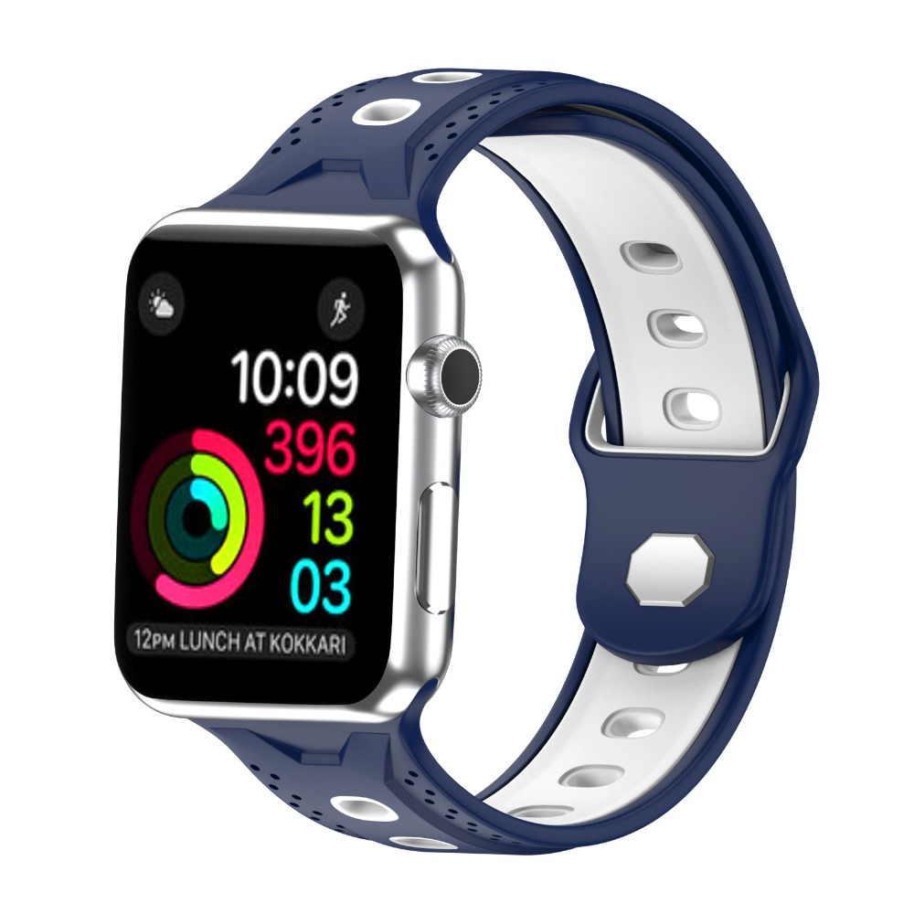 все цены на Apple Watch Sport Silicone Band Replacement Soft Silicone Wristband 38mm/42mm for Apple Watch Series 3 онлайн