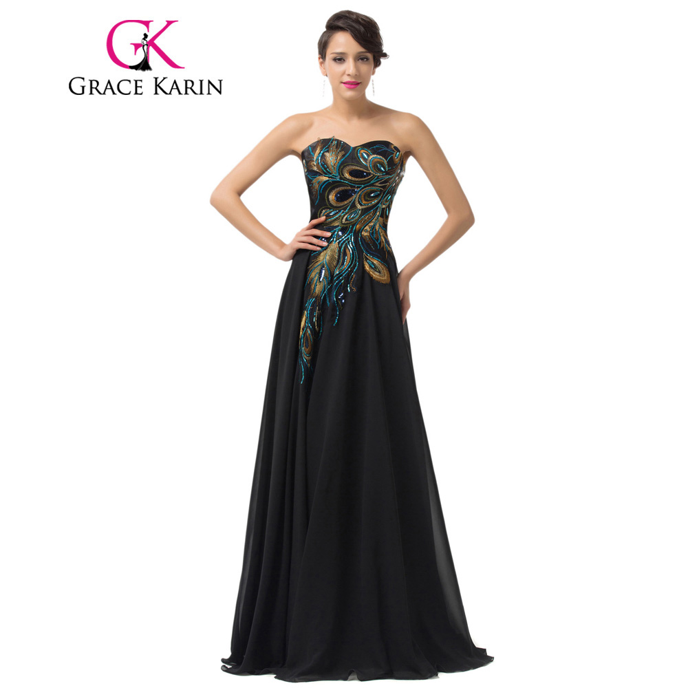 Grace Karin 2018 Embroidery Peacock Evening Dresses Floor Length Long Navy Blue Purple Black Evening Gowns Formal Dress Chiffon