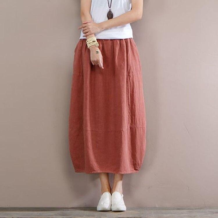 Mid Mujer Ealstic Nuevo Y Tamaño calf Plus Cintura Moda Primavera Imperio Negro Casual Algodón Lino Rojo De Sgy0802 Para Otoño Faldas coral 4qIadnf7w4