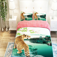 3D Oil Tiger Bedspreads,3/4pc duvet cover without filler,100% Polyester Animal Tiger Man's Bedding Sets King Queen Twin Size