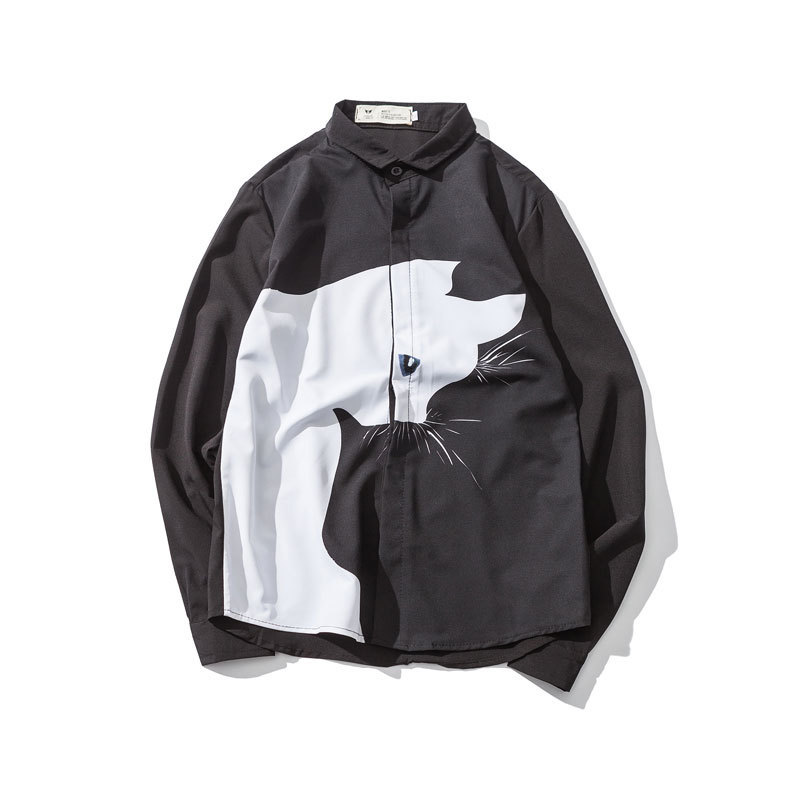 0142 Spring Autumn Cat Print Mens Shirt Long Sleeve Slim Fit Hip Hop Streetwear Casual Shirts Male Black White Lapel Collar 5XL in Casual Shirts from Men 39 s Clothing
